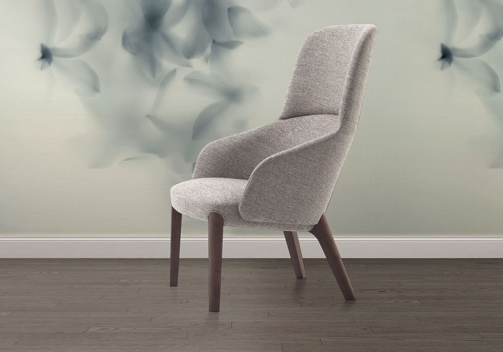 Bergere armchair / contemporary / in wood / canvas