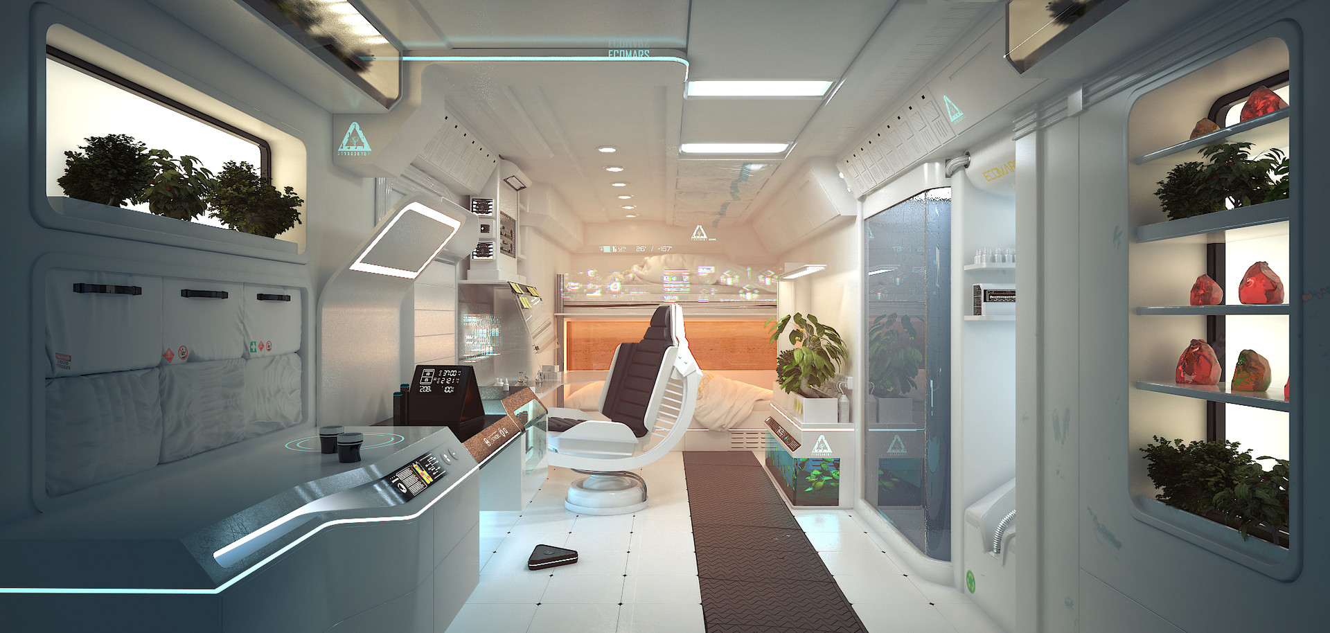 Mars habitat interior by Yanay Nadel